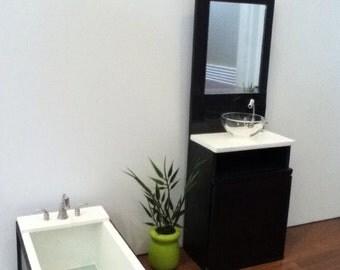 "Ultra Modern black sink, vanity& mirror for 10.5-12"" dolls. 1:6 scale dolls"