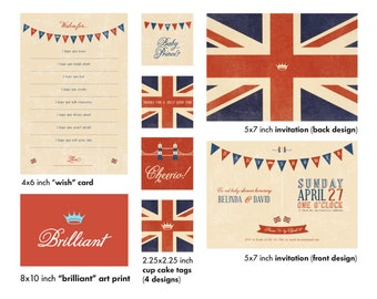 DIgital (PDF) British Themed Invitation for Baby Shower, Bridal, Shower or any other event!