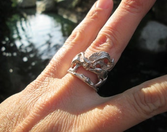 Sterling Silver Fairy Kissing Dolphins Ring Size 8.5