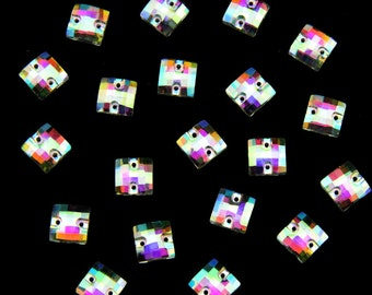 40 Pieces 10x10mm Crystal Clear AB Foiled Square Sew On Stone Flatback Sew On Rhinestones
