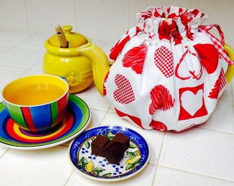 Reversible handmade tea cozy for Valentines day, tea party for teapot