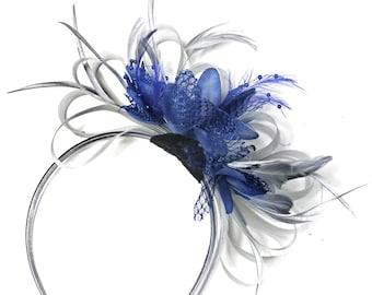 Grey Silver & Royal Blue Fascinator on Headband AliceBand UK Wedding Ascot Races Loop