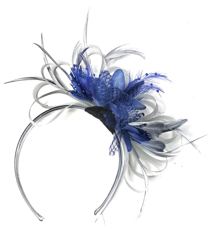 grey silver royal blue fascinator on headband aliceband uk. Black Bedroom Furniture Sets. Home Design Ideas