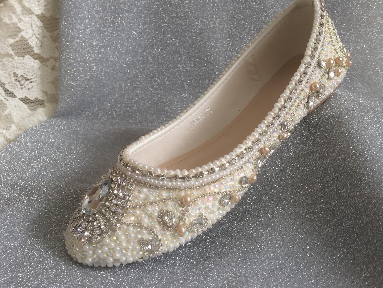 Plus Size Wedding Shoes Bridal Flats Embellished By ...