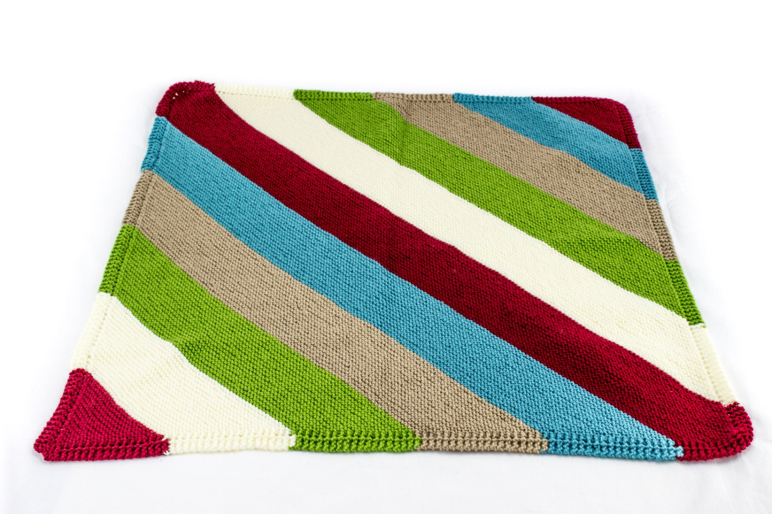 Reversible Knit Baby Blanket Diagonal Stripe Baby Blanket