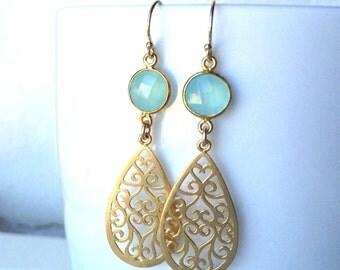 Mint Aqua Chalcedony Aquamarine Tear drop Gold Earrings, Bridal Earrrings, Wedding Jewelry, Bridesmaids Gifts