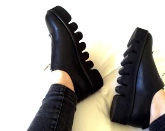 Final Sale 30% Off - Black Flat Platform Sneakers - Flat Platform Shoes - Flat Slip On Shoes - Black Womens Leather Shoes - Zipper shoes