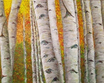 Trees. Oil. Gallery wrapped canvas. 24x48 inches.