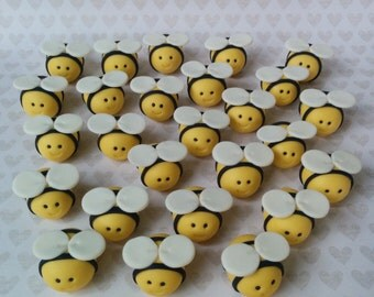 12 Edible Fondant Bumble Bees Toppers