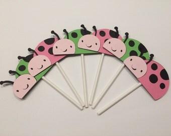 24 Ladybug Cupcake Toppers