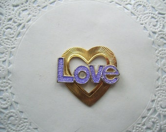 Upcycled Vintage Jewelry Refrigerator Magnet (407) - Love pin and gold heart