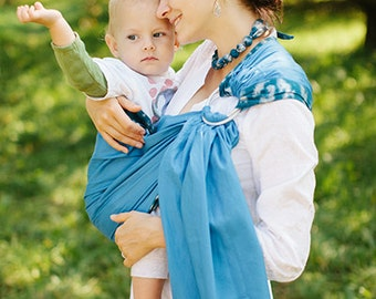 Baby ring sling - Baby Carrier - Beads as a gift - Blue