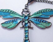 clearance! hand painted dragonfly pendant on long bronze chain necklace