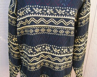 Vintage 80s Ladies Gold and Black Long Pullover Sweater by Units Unworn Rock it with Leggins Size Large