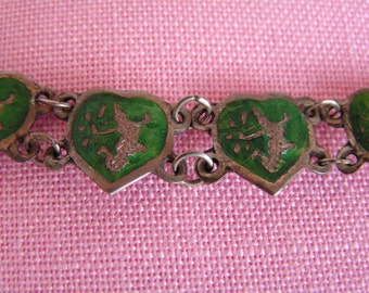 Vintage Sterling Silver Green Enamel Siam Panel Bracelet with Mekala Goddess of Lightning Guilloche Hearts 8.3 Grams