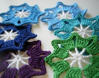 Handmade Crocheted Stars (Appliqués) 6 pcs set