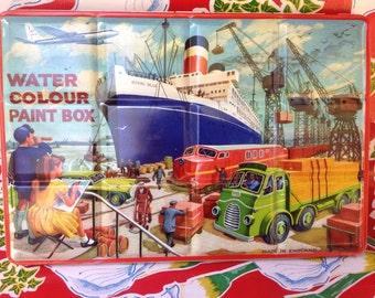 Vintage children's water color set in original metal case- England