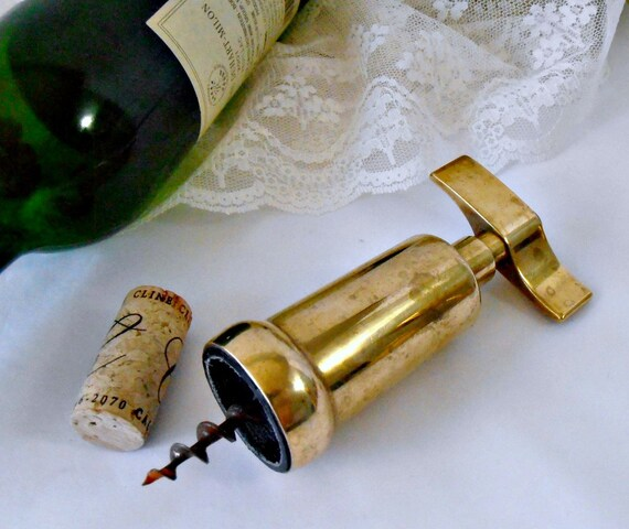 mid century italian brass wine bottle opener barrel
