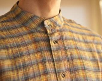 Plaid linen classic handmade men's shirt