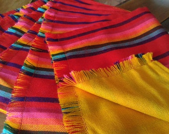 6 Double View Placemat, red placemat, yellow placemat, aztec fabric placemat, Reversable placemats, wedding gift, mexican house