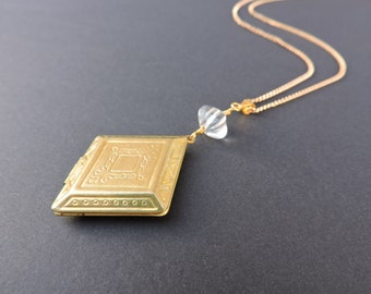 Vintage Geometric Locket And Rock Crystal Gold Plated Necklace