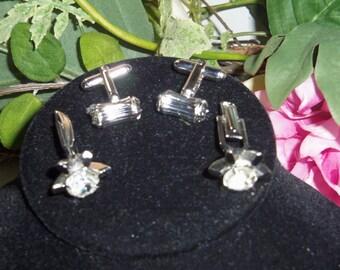 Ladies/Mens Crystal Rhinestone Cufflink Silver Plated Made in USA