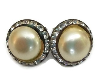 HOLLYWOOD REGENCY Vintage Rhinestone Pearl Earrings Mid Century 1950s Mad Men Jewelry 60s Wedding Bridal Bride Bridesmaid Mother of Bride