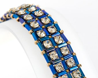 Cup Chain Bracelet with Crystal Rhinestone Cupchain, Iris Blue Bugle Beads, Gold Plated Seed Beads - Seed Bead Bracelet - Beadwoven Bracelet