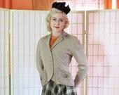 Vintage 30's Egyptian Motif Beaded Jacket . Soft Beige Worsted Wool . Art Deco . Faceted Copper Beading . WILLIAM Kitt depression era labels