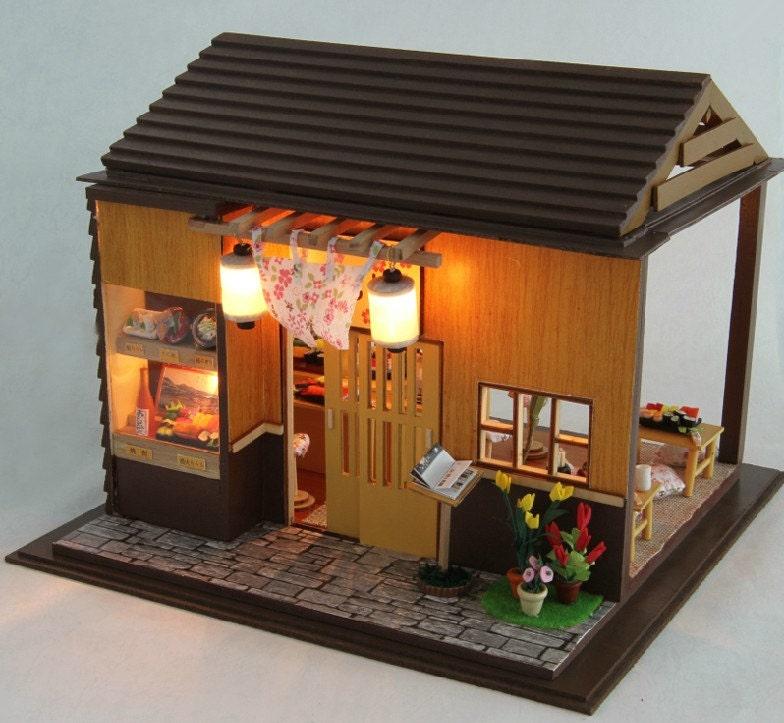 Miniature Dollhouse Diy Kit Sakura Sushi Shop With Light And