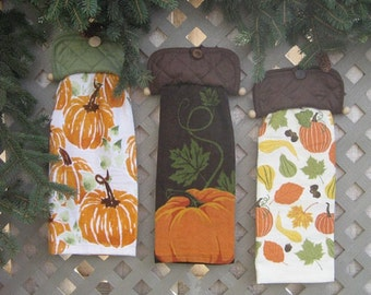 Fall Hanging Kitchen Towel -   Choose one pattern  -  Hanger Allows Changing Towels