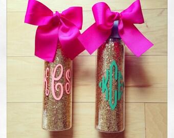 Personalized 18oz Loop Water Bottle {Gold Glitter}