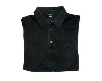 Vintage Boss Hugo Boss men polo shirt black Pima cotton size L