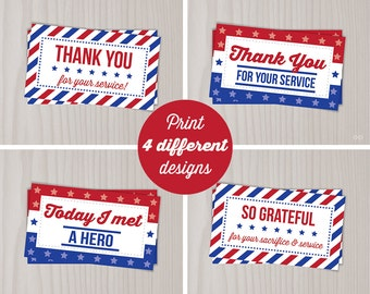 Instant Download Veterans Day Thank You Cards, Military Thank You for your Service, Red White Blue, Gift Tags, Memorial, Random Act Kindness