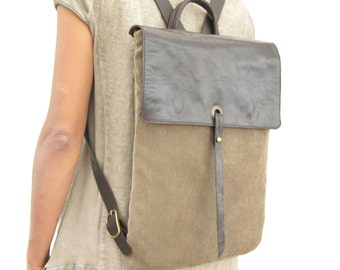 "15"" Leather and Canvas Laptop Backpack - Canvas Rucksack - Brown"