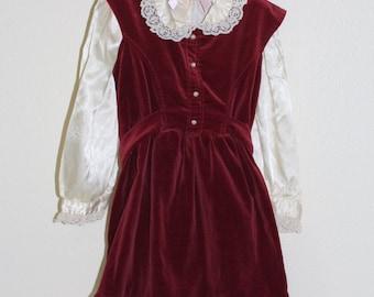 Vintage girl's dress, Maroon Velvet with cream satin shirt underneath , Little Star sz 6T