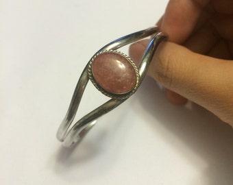 Vintage sterling silver alpaca bracelet, pink Mexico gemstone