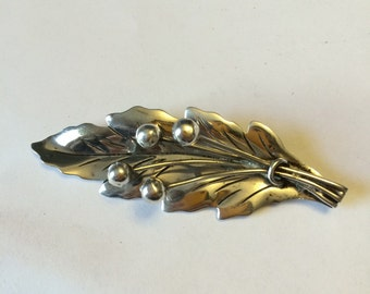 Vintage Mexico sterling silver taxco silver brooch, leave 925 silver brooch, handmade