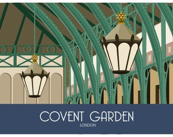 LONDON. Art print Travel/Railway Poster of Covent Garden, London, England. A4, A3, A2 in Retro, Art Deco style design