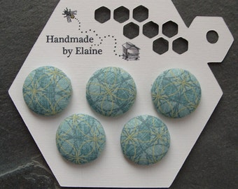 Fabric Covered Buttons - 5 x 22mm buttons, handmade button, aqua teal tuquoise button, geometric button, pastel button, ice blue button 0695