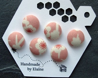 Fabric Covered Buttons - 6 x 18mm buttons, handmade button, pink white button, cherry blossom button, flower button, japanese button, 0811