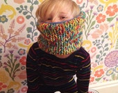 Kid's hand knitted, fleece lined snood.