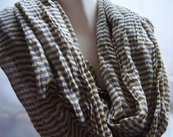 Green and Grey Striped Infinity Scarf