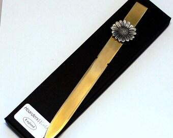 Sunflower Letter Opener (paper knife), Handmade, Gift Boxed (h)