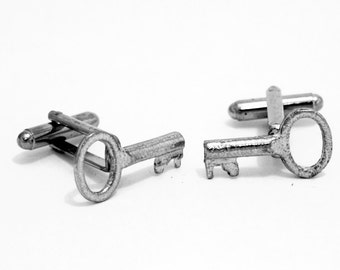 Old Key Cufflinks, English Pewter, handmade in England, Gift Boxed (mp)
