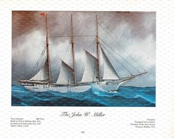 "Clipper Ship Book Plate. ""The John W. Miller"". 1967."