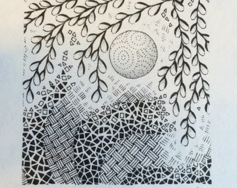 Framed Zentangle Print - Design #30