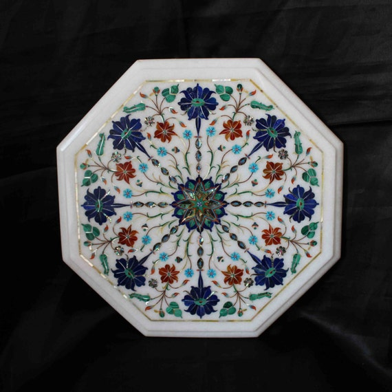 Marble Top Coffee Table India: Coffee Table Top White Marble Inlaid Marquetry Pietra Dura