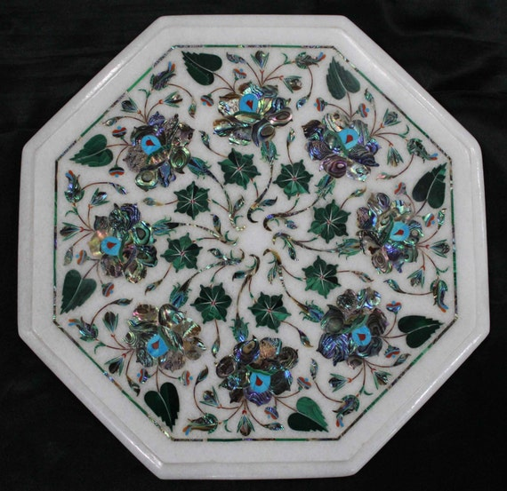Marble Inlay Table Tops : Marble inlay work end table tops handmade stone inlaid rose