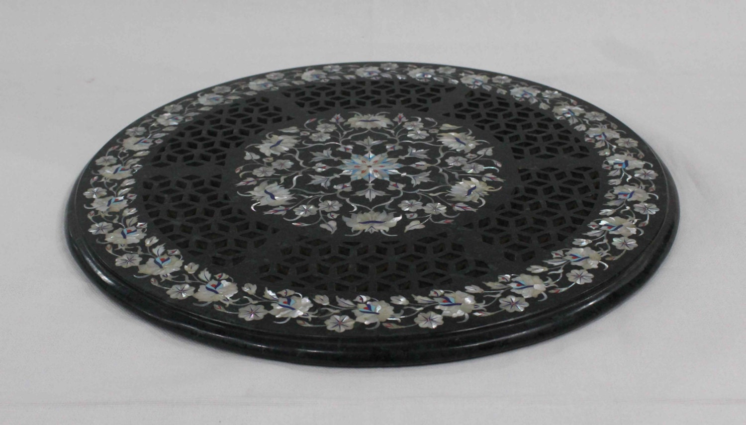 Marble Inlay Table Tops : Marble inlay coffee table top inlaid with semiprecious